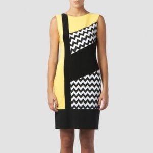 NWT Joseph Ribkoff Black White Yellow Zig Zag Print Midi Sheath Bodycon Dress 2